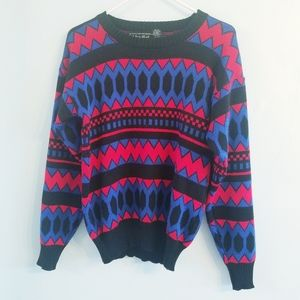 Vintage 80s Van Cort colorful knit crew sweater